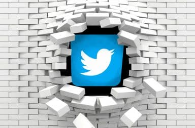 Twitter bursting through a wall