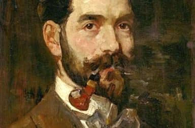 Eduard Frankfort, Self portrait with a pipe