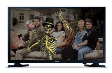 spooky skelington on TV