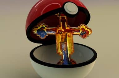 A cross in a Pokeball