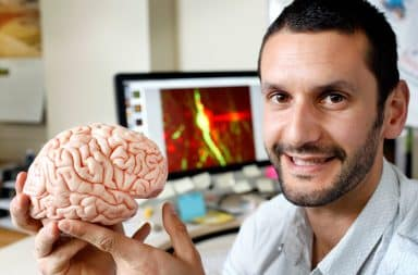 A brain scientist with his science brain