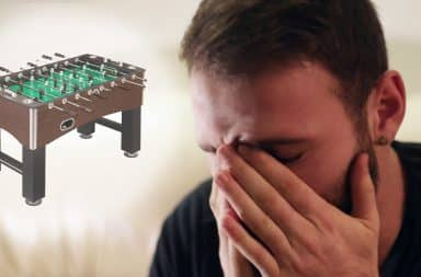 Foosball makes the man sad