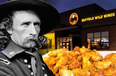 Custer eats wings, they're too hot!