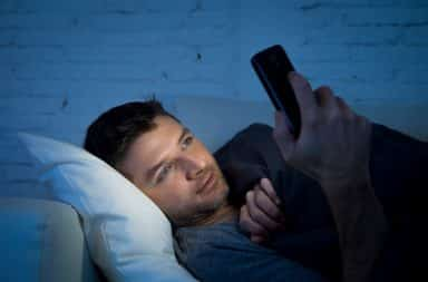 looking at instagram at night