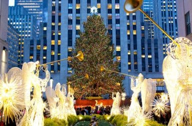Rockefeller Center Christmas Tree with angels and angles