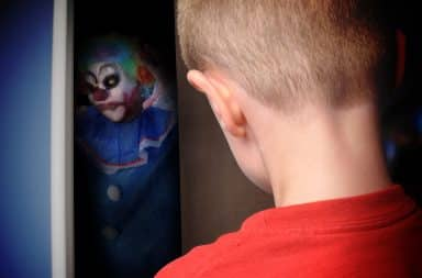 Scary clown in kids room closet