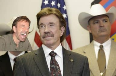Chuck Norris laughs at himself