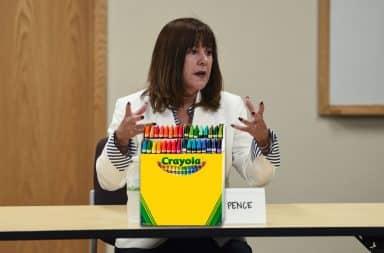 Karen Pence with a box of Crayola Crayons