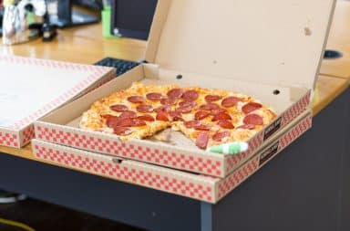the office is getting pizza pies!