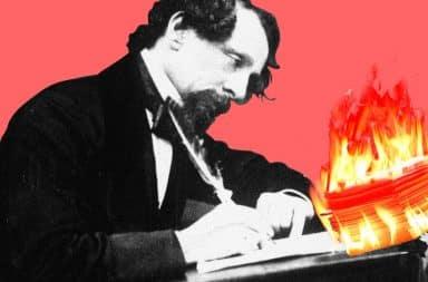 Man writing on fire