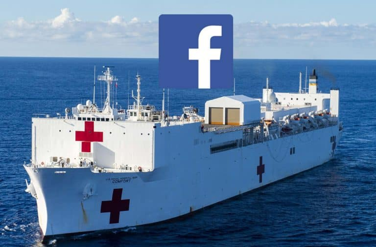 Ship with Red Cross and Facebook logos