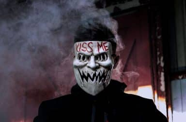 "Horror mask with ""Kiss Me"""