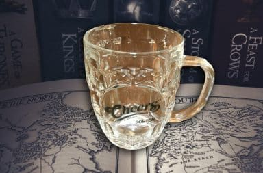 its the mug from the one show on the map from the other show