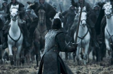 Game of Thrones battle - horses and man with sword