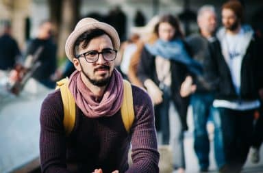 Hipster guy thinking outside