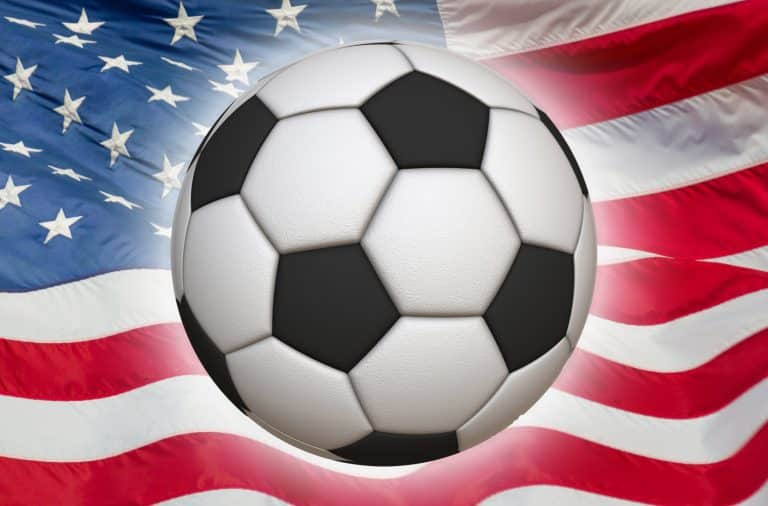soccer! it's on and it's on the flag