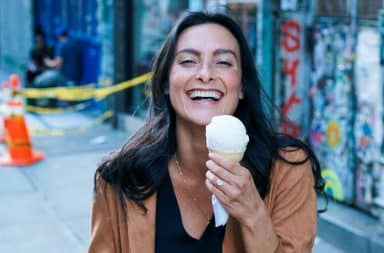 Woman eating ice cream in NYC