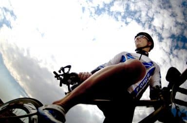 Man riding a bicycle in Spandex