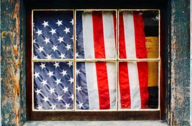 American flag in the window