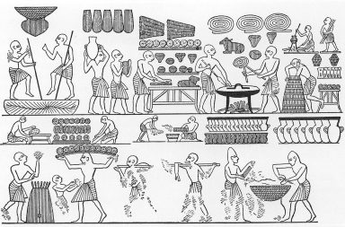 ancient egyptians making bread
