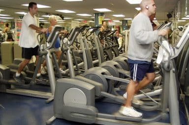 all the ellipticals in a row, look at them, like a parade frozen in time