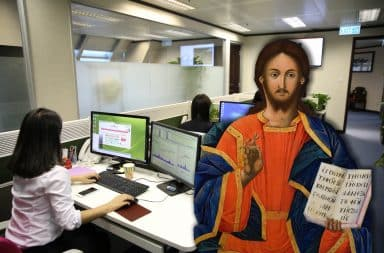 jesus in the office okay you know some shenanigans are about to go down