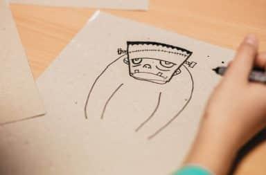Frankenstein drawing in journal
