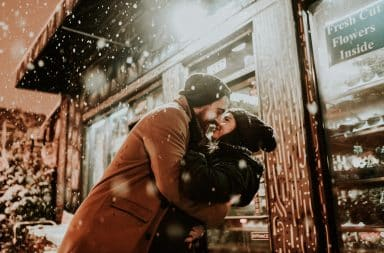 the big kiss outside in the snow!