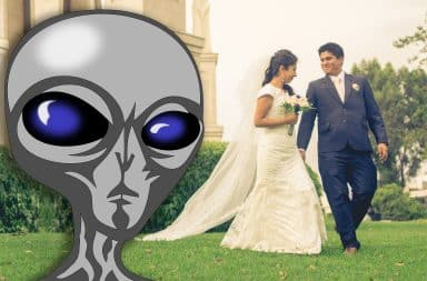 alien looks at a wedding