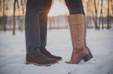 a couple in the snow