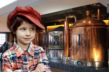 kid at the brewery
