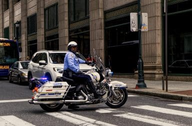 Police man riding a motorcycle