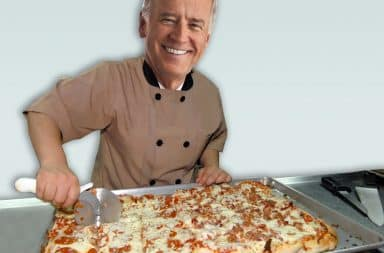biden pizza is getting cut up
