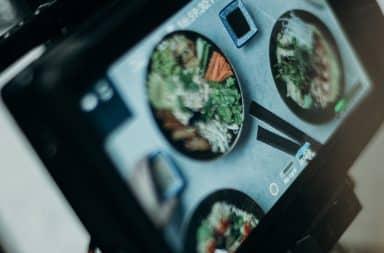 Food being filmed on video for social media team