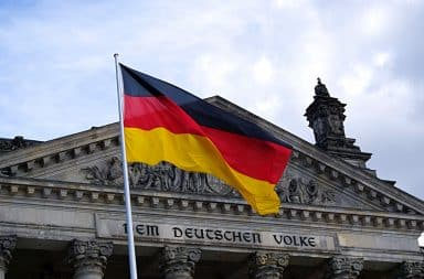 German flag flying above a building