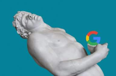 European art statue sculpture with Google logo