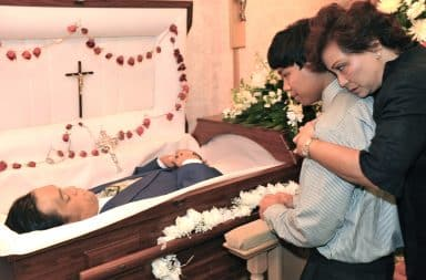 Open casket at a funeral