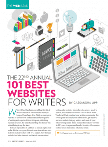 Writer's Digest 22nd Annual 101 Best Websites for Writers - cover story
