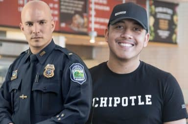 Police Officer and a Chipotle employee