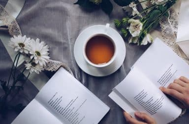 Reading books with a cup of tea