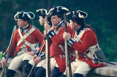 Revolutionary war soldiers looking bored