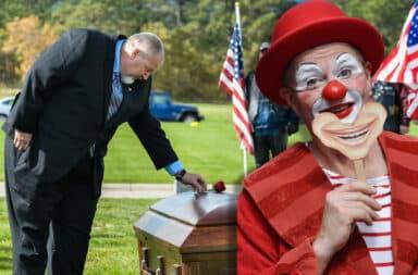 clown in a funeral