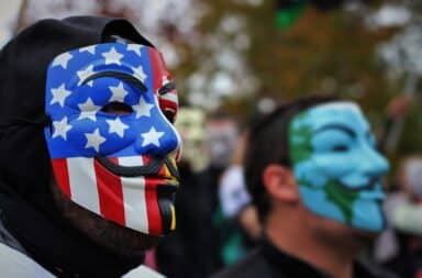 Anon mask American flag
