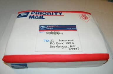 Mail package cake