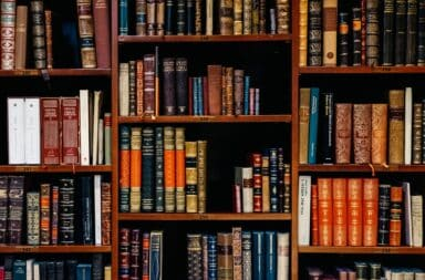Wooden bookshelf with classic books