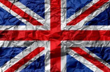 Wrinkled British flag