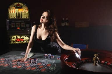 Woman lying on a casino table
