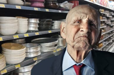 old man is mad in the store