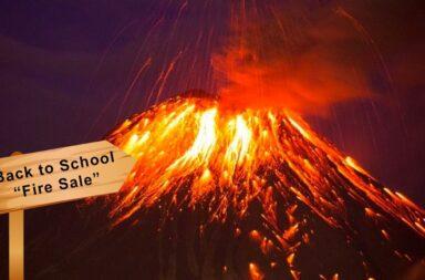 volcano explosion school sign