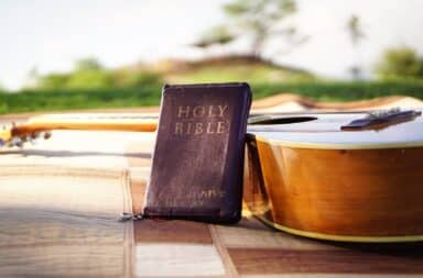 Holy Bible and guitar
